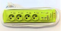 Prelungitoare Vipex 43038 Prel suco (3×1,5mm)  4P 2m USB   intrerupator