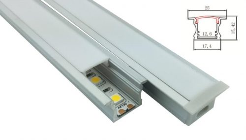 LED - banda & accesorii Profil ingropat cu dispersor pentru banda LED rigida YF-125 / aluminiu