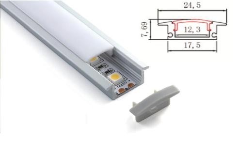 LED - banda & accesorii Profil ingropat cu dispersor pentru banda LED rigida YF-102 / aluminiu