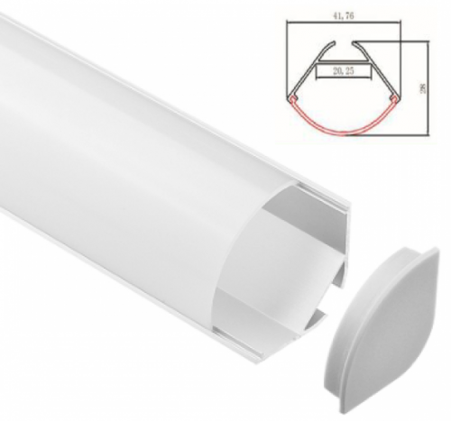 LED - banda & accesorii Profil colt cu dispersor pentru banda LED rigida YF-856 / aluminiu