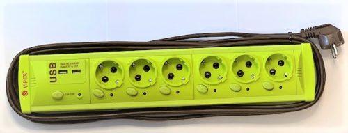 Prelungitoare Vipex 43040 Prel suco (3×1,5mm)  6P 2m USB   intrerupator