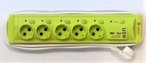 Prelungitoare Vipex 43039 Prel suco (3×1,5mm)  5P 5m USB   intrerupator