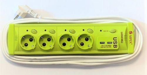 Prelungitoare Vipex 43038 Prel suco (3×1,0mm)  4P 2m USB   intrerupator