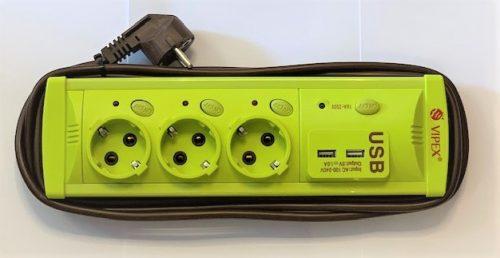 Prelungitoare Vipex 43037 Prel suco (3×1,5mm)  3P 3m USB   intrerupator