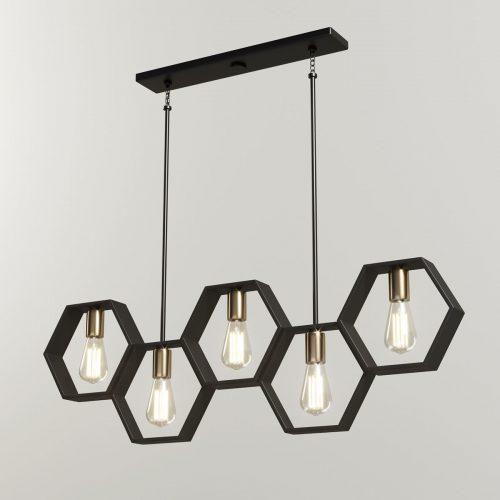 Corp iluminat interior Vintage – Lustra 5 x E27 (hexagon/liniara)