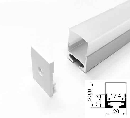 LED - banda & accesorii Profil led aluminiu PXG- 108/2 – aplicat/2m
