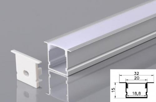 LED - banda & accesorii Profil led aluminiu PXG-2015A/2 – ingropat/gips carton/2m