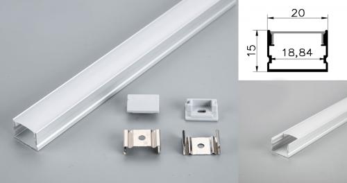 LED - banda & accesorii Profil led aluminiu PXG-2015M/1 – aplicat/1m