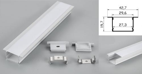 LED - banda & accesorii Profil led aluminiu PXG-3020A/1 – ingropat/gips carton/1m