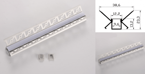 LED - banda & accesorii Profil led aluminiu PXG- 303/2 – colt interior/ingropat/gips carton/2m