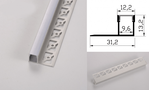 LED - banda & accesorii Profil led aluminiu PXG- 301/2 – ingropat/gips carton/2m